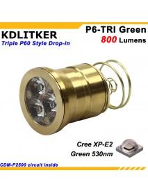 KDLITKER Triple Cree XP-E2 Green 530nm 800 Lumens Hunting LED Drop-in Module (Dia. 26.5mm)