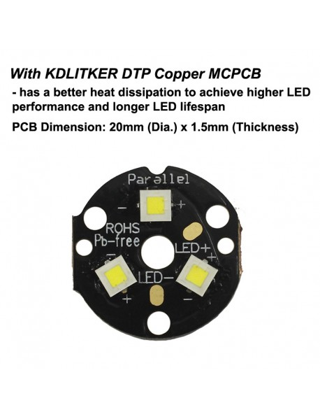 KDLITKER Triple Cree XP-L HI 2000 Lumens High Power LED Drop-in Module (Dia. 26.5mm)