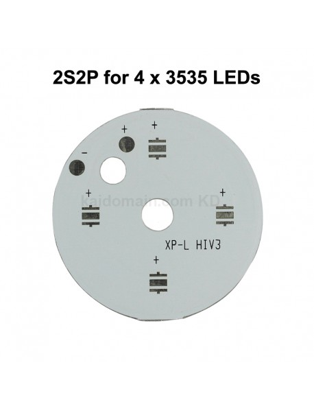 40mm (D) x 2mm (T) 2S2P Aluminum Base Plate for 4 x 3535 LEDs