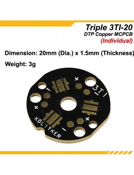 KDLITKER Triple 3TI DTP Copper MCPCB for Cree XP Series / Nichia 219 Series / 3535 LEDs - Individual ( 2 pcs )