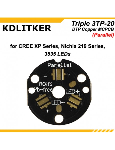 New KDLITKER Triple 3TP-20 DTP Copper MCPCB for Cree XP Series / Nichia 219 Series / 3535 LEDs ( 2 pcs )