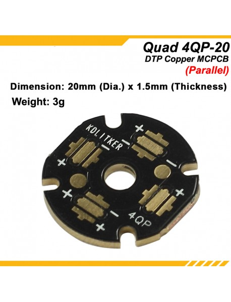 KDLITKER 4QP-20 Quad DTP Copper MCPCB for Cree XP Series / Nichia 219 Series / 3535 LEDs (2 pcs)
