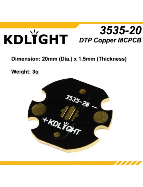 KDLITKER 3535-20 DTP Copper MCPCB for Cree XP Series / Nichia 219 Series / 3535 LEDs