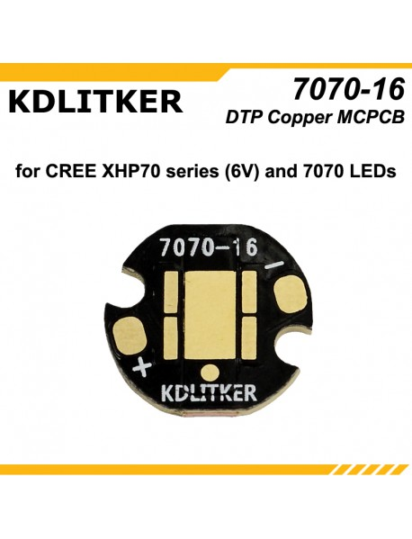 KDLITKER 7070-16 DTP Copper MCPCB for Cree XHP70 Series (6V) / 7070 LEDs ( 2 pcs )