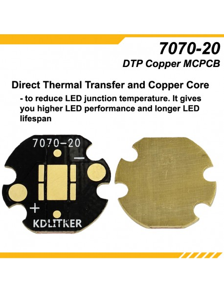 KDLITKER 7070-20 DTP Copper MCPCB for Cree XHP70 Series (6V) / 7070 LEDs ( 2 pcs )
