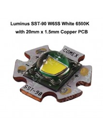Luminus SST-90 W65S White 6500K LED Emitter with 20mm x 1.5mm Copper PCB ( 1 pc )