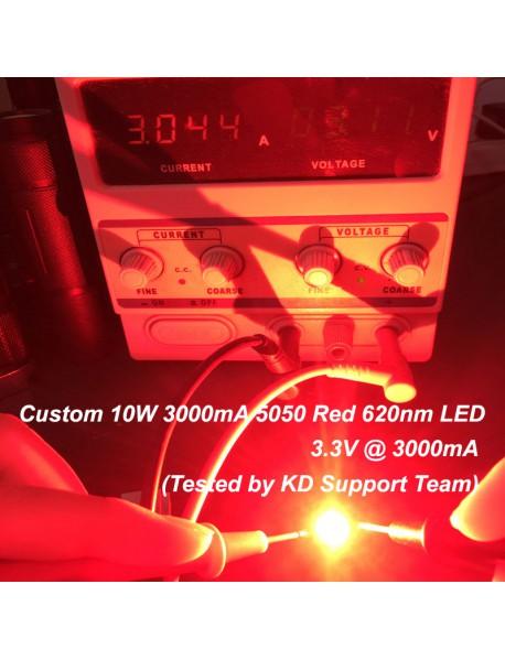 Custom 10W 3000mA 5050 Red 620nm LED (1 pc)