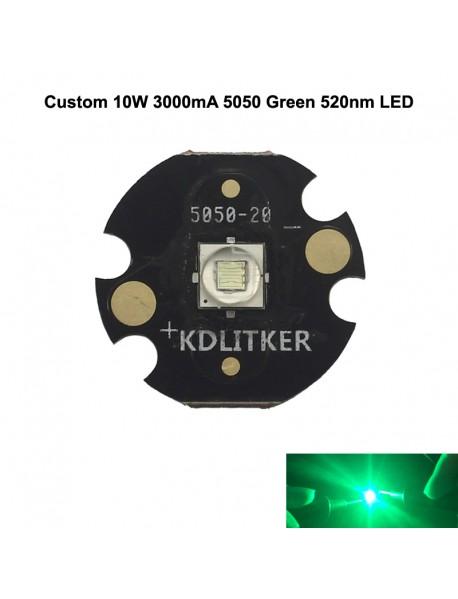 Custom 10W 3000mA 5050 Green 520nm LED (1 pc)