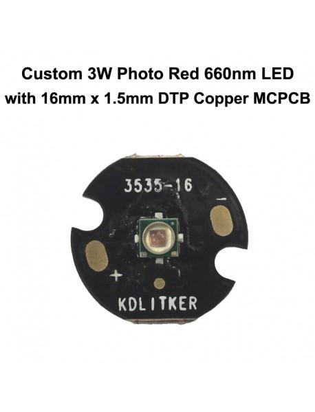 Custom 3W 1000mA 3535 Photo Red 660nm LED (1 pc)