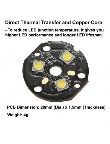 Triple Nichia 219BT LED Emitter with KDLITKER 20mm x 1.5mm DTP Copper MCPCB (Parallel) w/ optics