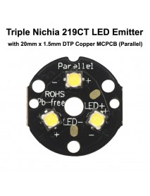 Triple Nichia 219CT LED Emitter with 20mm x 1.5mm DTP Copper PCB (Parallel) w/ optics