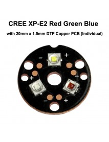 Triple Cree XP-E2 Red Green Blue LED Emitter with 20mm x 1.5mm DTP Copper PCB (Individual) w/ optics
