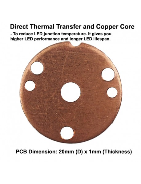 Triple Cree XP-G3 LED Emitter with 20mm x 1.5mm DTP Copper PCB (Parallel) w/ optics