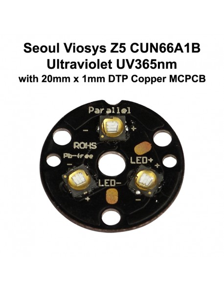 Triple Seoul Viosys Ultraviolet UV 365nm LED Emitter with 20mm x 1mm DTP Copper MCPCB   (Parallel) w/ optics
