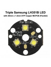 Triple Samsung LH351B LED Emitter with 20mm x 1.5mm DTP Copper PCB (Parallel) w/ optics