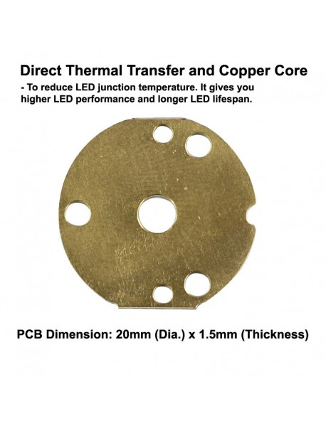 Triple Osram KW CSLNM1.TG White 5600K LED with 20mm x 1.5mm DTP Copper PCB (Parallel) w/ optics