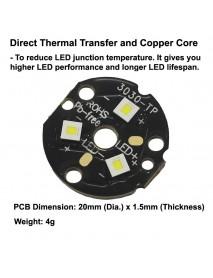 Triple Osram KW CSLPM1.TG White 5400K LED with 20mm x 1.5mm DTP Copper PCB (Parallel) w/ optics