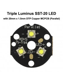 Triple Luminus SST-20 LED Emitter with 20mm DTP Copper MCPCB Parallel with Optics