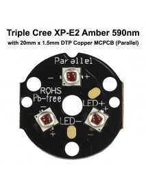 Triple Cree XP-E2 Amber 595nm LED Emitter with 20mm DTP Copper MCPCB Parallel with Optics