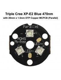 Triple Cree XP-E2 Blue 470nm LED Emitter with 20mm DTP Copper MCPCB Parallel with Optics