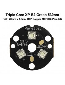 Triple Cree XP-E2 Green 530nm Green LED Emitter with 20mm DTP Copper MCPCB Parallel with Optics