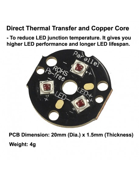Triple Cree XP-E2 Red 620nm LED Emitter with 20mm DTP Copper MCPCB Parallel with Optics