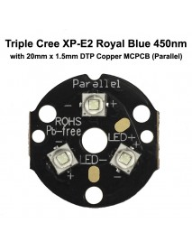 Triple Cree XP-E2 Royal Blue 450nm LED Emitter with 20mm DTP Copper MCPCB Parallel with Optics