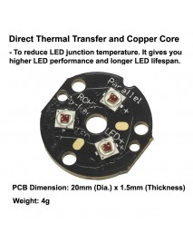 Triple Cree XP-E2 Far Red 730nm LED Emitter with 20mm x 1.5mm DTP Copper PCB (Parallel) w/ optics