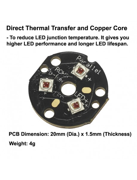 Triple Cree XP-E2 Photo Red 660nm LED Emitter with 20mm x 1.5mm DTP Copper PCB (Parallel) w/ optics