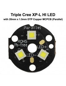 Triple Cree XP-L HI LED Emitter with 20mm DTP Copper MCPCB Parallel with Optics