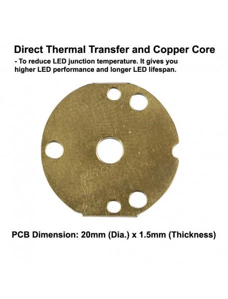 Triple Cree XP-L HI LED Emitter with 20mm x 1.5mm DTP Copper MCPCB (Parallel) w/ optics