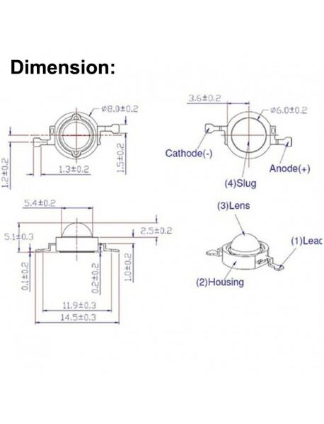 IR850nm 1W / 2W / 3W / 5W Infrared Red IR LED Emitter ( 1 pc )