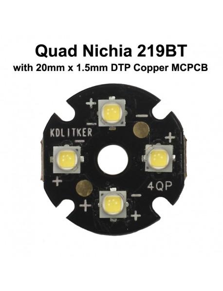 Quad Nichia 219BT LED Emitter with KDLITKER 20mm x 1.5mm DTP Copper MCPCB (Parallel) w/ optics