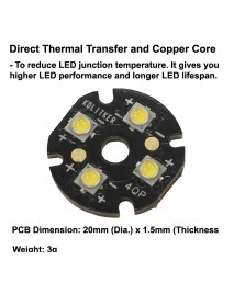Quad Nichia 219BT LED Emitter with KDLITKER 20mm x 1.5mm DTP Copper MCPCB (Parallel) w/ optics