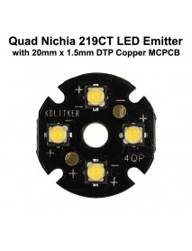 Quad Nichia 219CT LED Emitter with 20mm x 1.5mm DTP Copper PCB (Parallel) w/ optics