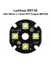 Quad Luminus SST-20 LED Emitter with KDLITKER 20mm x 1.5mm DTP Copper PCB (Parallel) w/ optics