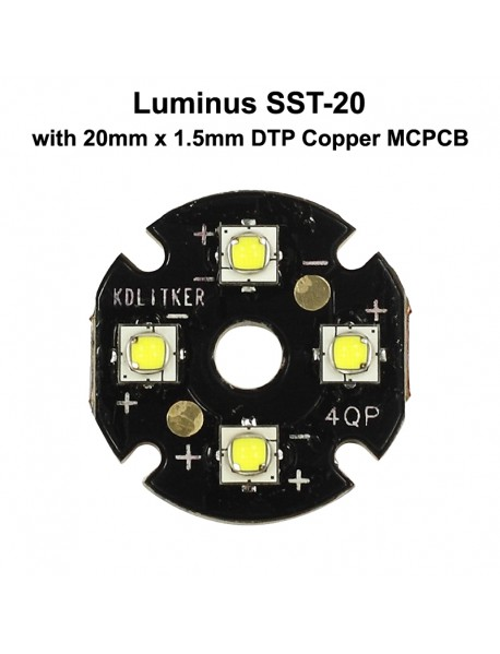 Quad Luminus SST-20 LED Emitter with KDLITKER 20mm x 1.5mm DTP Copper PCB (Parallel) w/ optics
