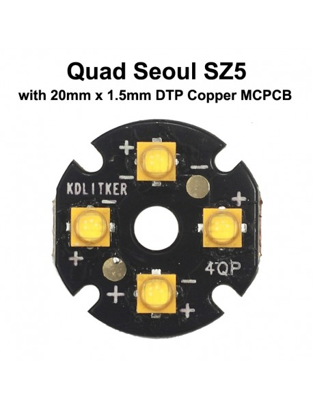 Quad Seoul SZ5 LED Emitter with 20mm x 1.5mm DTP Copper PCB (Parallel) w/ optics