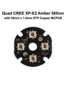Quad Cree XP-E2 Amber 585nm LED Emitter with KDLITKER 20mm x 1.5mm DTP Copper PCB (Parallel) w/ optics