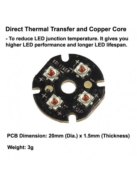 Quad Cree XP-E2 Amber 585nm LED Emitter with KDLITKER 20mm x 1.5mm DTP Copper PCB (Parallel) w/ optics