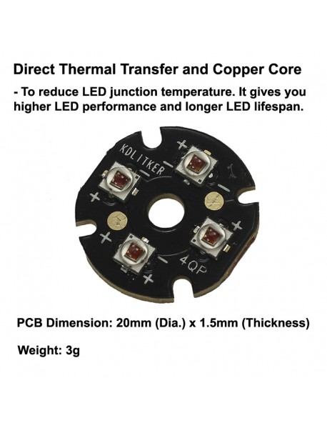 Quad Cree XP-E2 Far Red 730nm LED Emitter with 20mm x 1.5mm DTP Copper PCB (Parallel) w/ optics