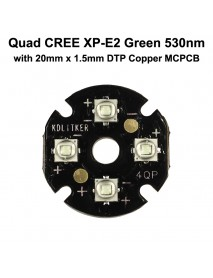 Quad Cree XP-E2 Green 530nm LED Emitter with KDLITKER 20mm x 1.5mm DTP Copper PCB (Parallel) w/ optics