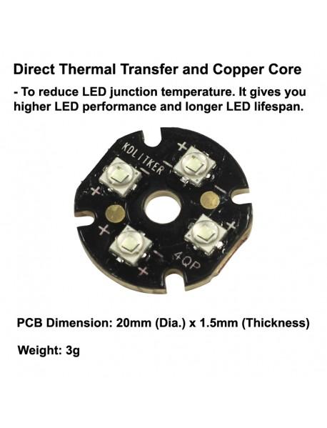 Quad Cree XP-E2 Green 530nm LED Emitter with KDLITKER 20mm x 1.5mm DTP Copper PCB (Parallel) w/ optics