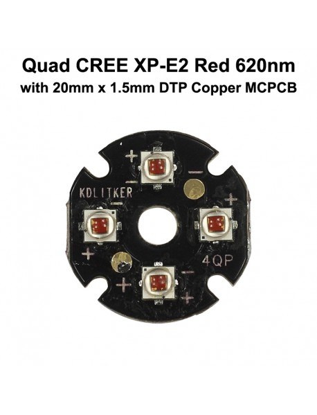 Quad Cree XP-E2 Red 620nm LED Emitter with KDLITKER 20mm x 1.5mm DTP Copper PCB (Parallel) w/ optics