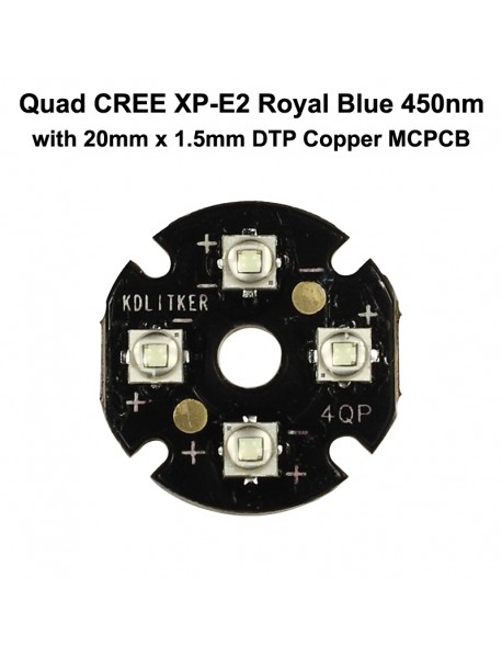 Quad Cree XP-E2 Royal Blue 450nm LED Emitter with KDLITKER 20mm x 1.5mm DTP Copper PCB (Parallel) w/ optics