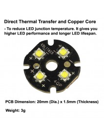 Quad Cree XP-G2 LED Emitter with KDLITKER 20mm x 1.5mm DTP Copper PCB (Parallel) w/ optics