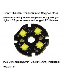 Quad Cree XP-G3 LED Emitter with KDLITKER 20mm x 1.5mm DTP Copper PCB (Parallel) w/ optics