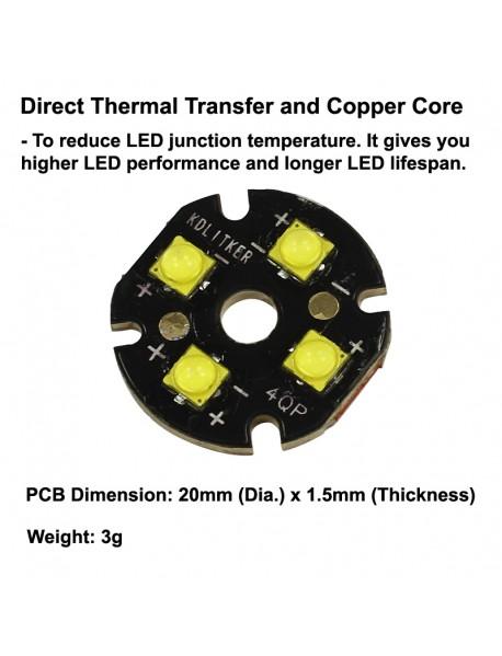 Quad Cree XP-G3 LED Emitter with KDLITKER 20mm x 1.5mm DTP Copper PCB (Parallel) w/ optics