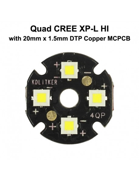Quad Cree XP-L HI LED Emitter with KDLITKER 20mm x 1.5mm DTP Copper PCB (Parallel) w/ optics