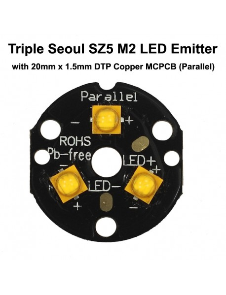 Triple Seoul SZ5 M2 LED Emitter with 20mm DTP Copper MCPCB Parallel with Optics